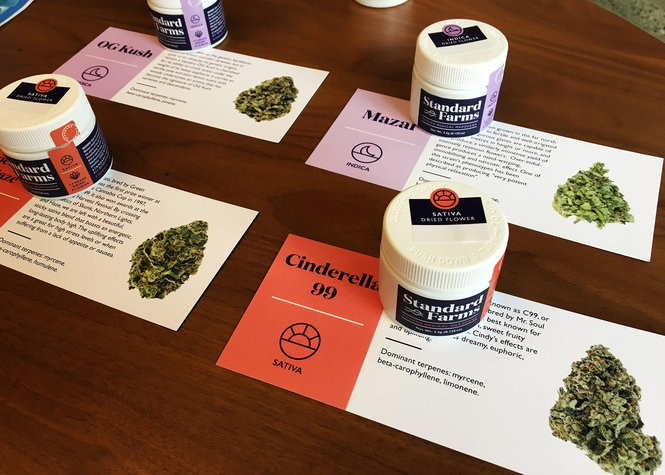 Packaging and advertising materials for medical marijuana in dry leaf, or bud, form are displayed July 31, 2018, at Keystone Canna Remedies in Bethlehem. The cannabis plant material will be available to qualified patients, in addition to processed preparations, starting Aug. 1, 2018.
