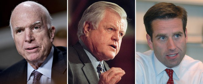 "From left, U.S. Sen. John McCain, R-Ariz.; U.S. Sen. Edward ""Ted"" Kennedy, D-Mass.; and Beau Biden. (Wire service photos 