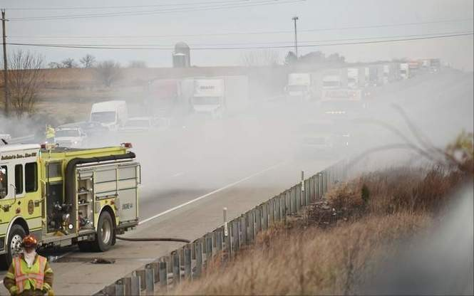 Smoke rises from the scene of a fiery crash Nov. 14, 2018, at mile marker 32.5 of Interstate 78 in Windsor Township, Berks County. (Bill Uhrich   The Reading Eagle)