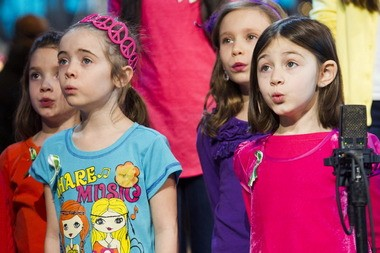"""Children from Newtown, Conn. and Sandy Hook Elementary school perform """"Somewhere Over the Rainbow"""" on ABC's """"Good Morning America"""" today in New York."""