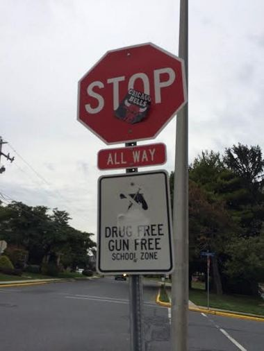 Nazareth and Upper Nazareth Township and Nazareth Area School District are investigating who plastered traffic signs with Chicago Bulls stickers.