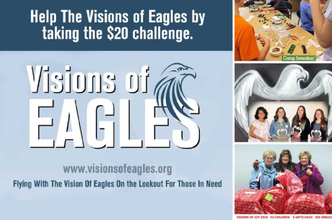 Visions of Eagles works with organizations and businesses along with the school district to identify families or individuals in the area that have needs.