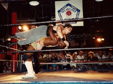 Don Drake, who wrestled professionally as DC Mad Dog Drake, goes airborne during a match in Philadelphia in younger years.