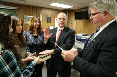 Jim Adams is sworn into the Greenwich Township Committee in 2014. Adams, now the township's mayor, is the only original 2015 committeeman left on the five-person board after a series of resignations. (lehighvalleylive.com file photo)