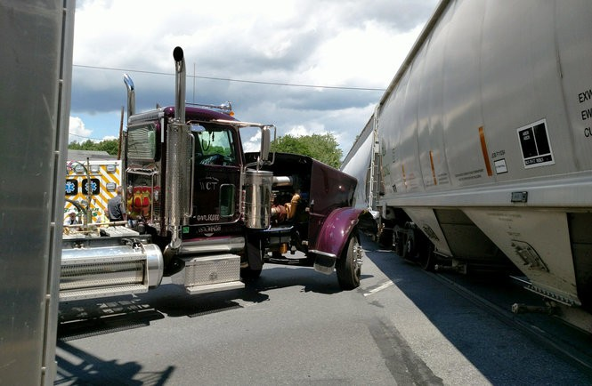 No one was reported injured, and there was no danger to the public after a Norfolk Southern train collided with the front of this tractor-trailer Tuesday, June 27, 2017, on Route 512 in Bangor, according to borough police. (Courtesy photo | For lehighvalleylive.com)