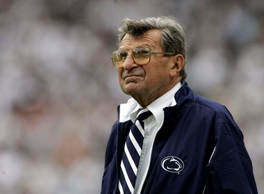 Late Penn State coach Joe Paterno watches a game against Youngstown State from the sidelines in September 2006 in State College, Pa.