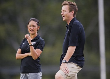 Tiffany and Tim Sahaydak pictured during their time as co-head coaches at Virginia Commonwealth University.