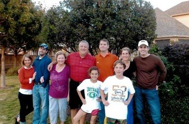 Former Penn State quarterback Chuck Burkhart, center in red shirt, and his family.