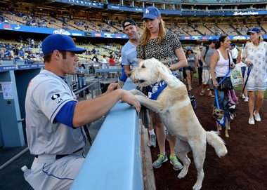 Anthony Recker enjoys the pet parade around the stadium for the Pups at the Park event before the game at Dodger Stadium on Aug. 23.