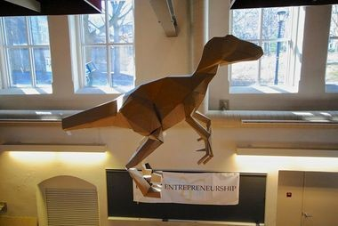 A model of Lisa Glover's dinosaur hangs in Lehigh's Wilbur Power House. | Photo by Conner Welty