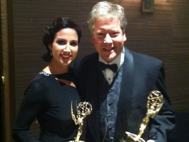 "With their Emmys tonight at the Sheraton Society Hill in Philadelphia are ""Laughing At My Nightmare"" executive producers Ashley Russo and Kenneth Szydlow."