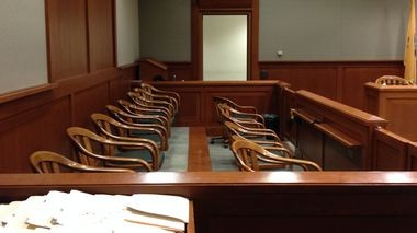 The jury box is empty as jurors begin their second full day of deliberations July 31, 2015, in the trial of former Warren County Sheriff Edward Bullock in state Superior Court in Flemington. (Steve Novak | For lehighvalleylive.com)