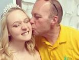 """Scott Danielson kisses his daughter, Alycia, who was crowned """"Miss Andover Borough a couple years ago."""" (Facebook Photo)"""