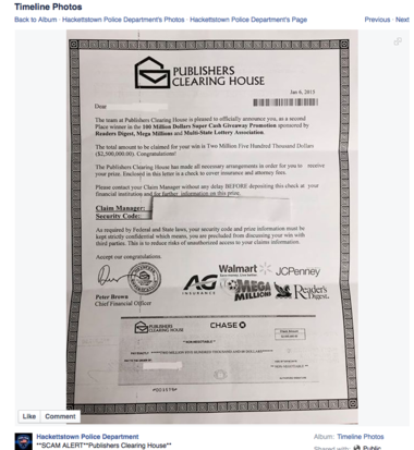 Police warn of scam disguised as Publishers Clearing House