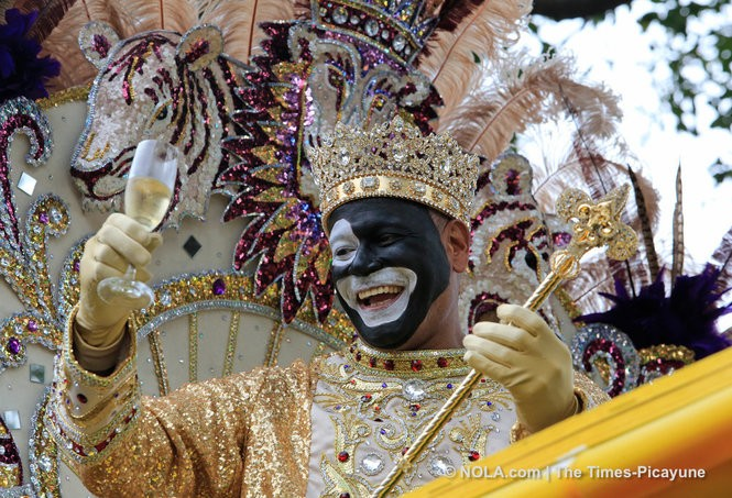 Adonis Expose, 2017 king of Zulu, rides in the annual Mardi Gras parade. (Photo by Ted Jackson, NOLA.com | The Times-Picayune)
