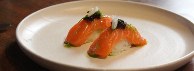 Bluefin toro with barrel-aged soy and fresh wasabi.