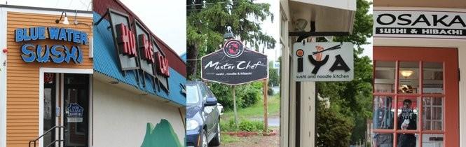 Best of Mass Sushi Western Mass. finalists: Blue Water Sushi, Hu Ke Lau, Master Chef, Iya and Osaka.