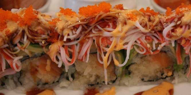 The Phoenix Roll at Blue Water Sushi.