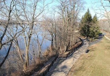 The walk and bikeway follows the Connecticut River in Springfield near the Naismith Memorial Basketball Hall of Fame.