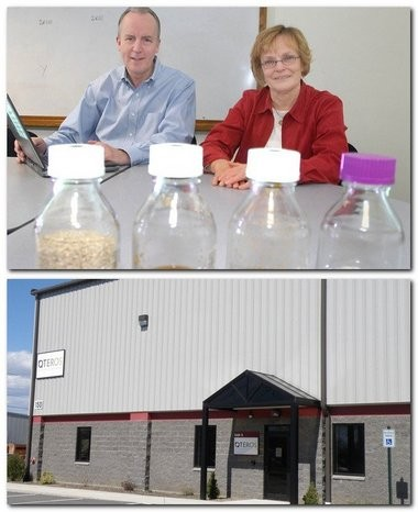 Susan B. Leschine, of Leverett, who was chief scientist at Qteros, when this picture was taken is seen with William A. Frey, of Belchertown, former president and CEO of the Hadley biotechnology company, in 2008 in the photo above. The photo below, taken last year, shows the now shuttered Chicopee facility. But the company is now trying to reinvent iself.