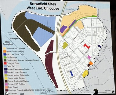 A map of the west end of Chicopee Center showing the brownfield sites.
