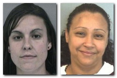 A full scale search is underway for Melissa Riley, left, and Jessica Rivera, inmates who escaped from the York Correctional Institution in Niantic, Conn., on Saturday night.