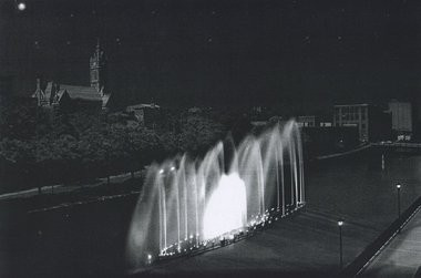 Fountains equipped with laser lights, seen here in a rendering submitted as part of a package of documents relating to casino proposals in Holyoke, were part of Eric Suher's plan to marry downtown investment with a Mountain Park casino.