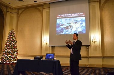 Bethlehem Mayor John B. Callahan gives a presentation on the process to bring the Sands Resort Casino to his city. The discussion was part of the City2City Greater Springfield's learning trip to the Lehigh Valley in Pennsylvania.