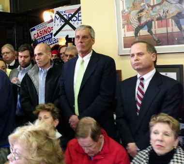 Eric Suher, right, attends the press conference in November at which mayor Alex B. Morse announced that he would consider casino proposals, a position he has since changed.