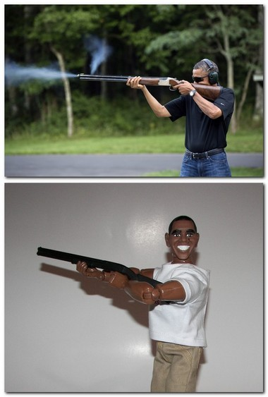 The top photo, released by the White House shows President Obama shooting a shotgun while skeet shooting at Camp David on Aug. 24, 2012. The bottom photo is Skeeter, the Obama action figure being put on by HeroBuilders.com, to commemorate Obama's hobby.