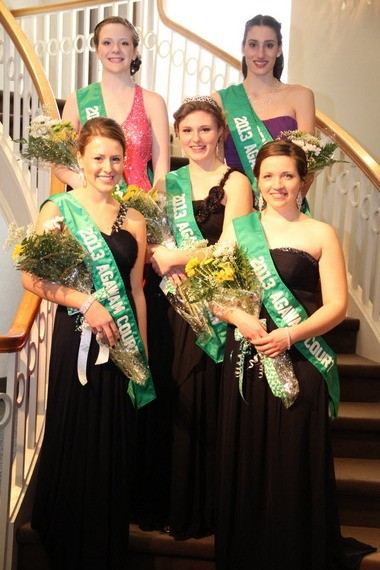 Paige Circosta, center, was named 2013 Agawam colleen Sunday. Her court, from left, is Carolyn Donahue, Kelsey Williams, Alycia Rackliffe and Faith Rheault.