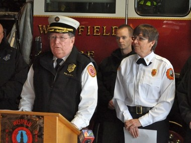 State Fire Marshal Steven D. Coan speaks at a press conference Wednesday at Westfield Fire Headquarters, as Westfield Fire Chief Mary Regan, right, looks on.