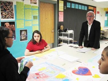 Artist Tim Rollins led a three-day workshop at Renaissance Public School in Springfield, focusing on the work of W. E. B. Du Bois.
