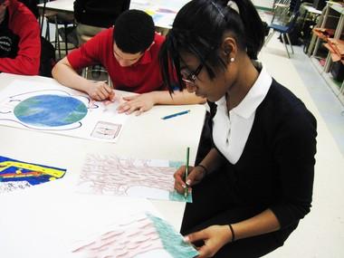 Alice Swan, 14, works on her Du Bois inspired artwork.