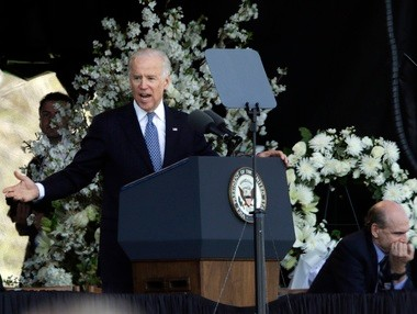 Vice President Joe Biden speaks at a memorial service for slain Massachusetts Institute of Technology campus officer, Sean Collier, at MIT in Cambridge Wednesday.