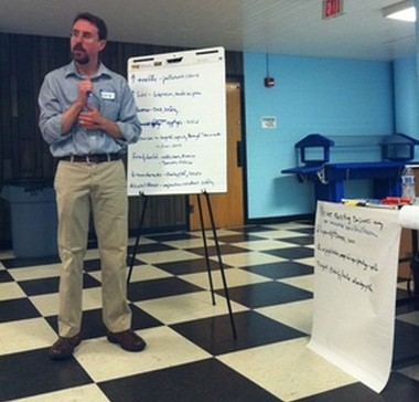 Lawrence G. Dixon hears from residents about potential health impacts from a casino at a forum Thursday in Palmer.