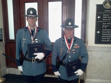 Trooper Jonathan A. McClure, left, and Trooper Norman B. Stanikmas, right
