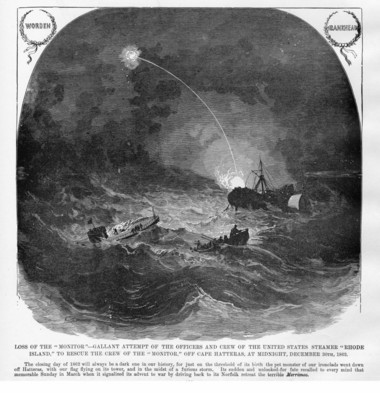 This Civil War illustration depicts the loss of the USS Monitor. Springfield native Luke Griswold was awarded the Congressional Medal of Honor for helping rescue crew from the sinking Monitor.