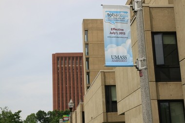 Banners are up at the University of Massachusetts alerting visitors to the no smoking policy that will be in effect beginning July 1.