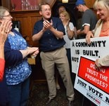 09.10.2013 | WEST SPRINGFIELD -- Nathan Bech celebrates the defeat of the proposed Hard Rock casino at the anti-casino watch party held by NoCasinoWestSpringfield.Inc at the Hofbrauhaus restaurant Tuesday night.