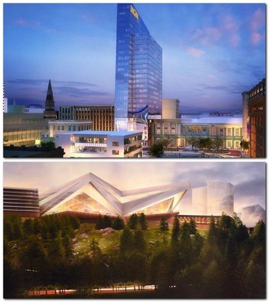 Artists' renderings of the proposed MGM Springfield (above) and Mohegan Sun Massachusetts casinos.