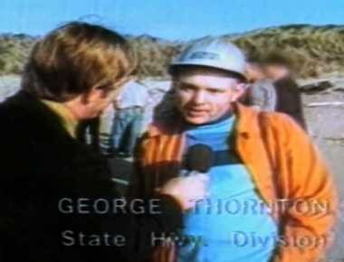 Former Oregon Department of Transportation engineer George Thornton, seen here on Nov. 9, 1970, just before blowing up a dead whale on a beach. Thornton died Sunday at 84.