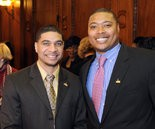01/06/14 Springfield- Republican Photo by Mark M.Murray- Springfields' newest City Councilors, Orlando Ramos ,left and Justin Hurst , right gather following the council organizational meeting Monday at City Hall