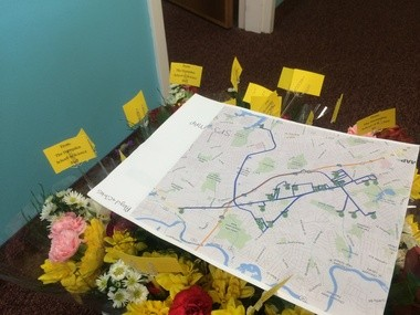 Chicopee-5-11-14- A map shows all of the houses where teachers and administrators from Hampden Charter School of Science will stop to deliver flowers this Mother's Day.