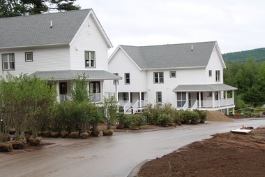 These two buildings at Olympia Oaks in Amherst will be rented to families beginning in July. The remaining units on the site will be rented through the summer into the fall as they are completed.