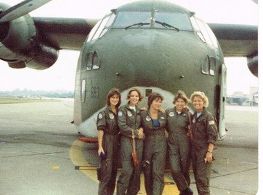 This undated photo shows five members of the 74th Aeromedical Evacuation Squadron standing in front of one of the C-123 Providers at Westover Air Reserve Base in the early 1980s. All were medical technicians at the time. From left are: Debbie Asamoah, Maj. Gail Mas Harrington of Shrewsbury; Susan Linenkemper of Lancaster; Cindy Lapa; and Marlene Wilson.