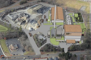 pA drawing of a proposed biomass plant in East Springfield
