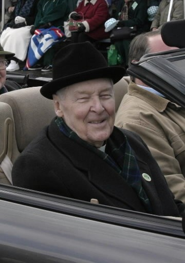 The Most Rev. Joseph F. Maguire, bishop emeritus of the Roman Catholic Diocese of Springfield, rides in the 2004 Holyoke St. Parade's Parade.