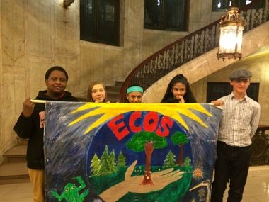 Springfield students hold a banner at City Hall, in support of the Environmental Center of Our Schools program at Forest Park. The students are, from left, Jason Gadson, Alyssa Stowers, Jordan Chatman, Aracely Rodriguez and Colin Rossmiller.