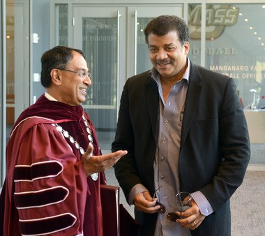 UMass Chancellor Kumble Subbaswamy (left) with graduation speaker Neil deGrasse Tyson.